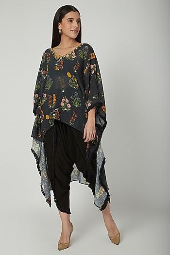 Black Embroidered & Printed Kaftan With Pants by Ayinat By Taniya O'Connor