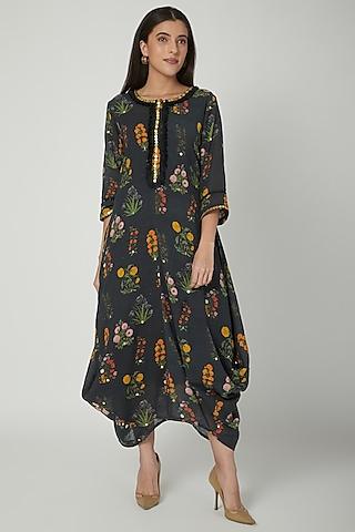 Black Printed Draped Dress by Ayinat By Taniya O'Connor