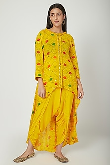 Yellow Embroidered & Printed Tunic With Pants by Ayinat By Taniya O'Connor
