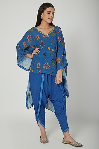 Cobalt Blue Embroidered & Printed Kaftan With Pants by Ayinat By Taniya O'Connor