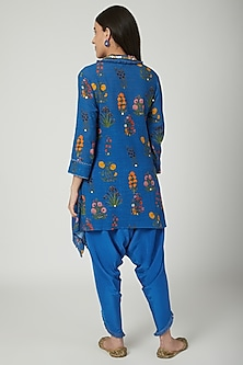 Cobalt Blue Embroidered Tunic With Dhoti by Ayinat By Taniya O'Connor