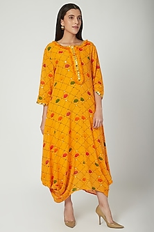 Orange Embroidered & Printed Draped Dress by Ayinat By Taniya O'Connor