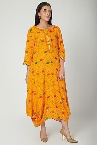Orange Embroidered & Printed Draped Dress by Ayinat By Taniya O'Connor