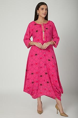 Fuchsia Embroidered Draped Dress by Ayinat By Taniya O'Connor