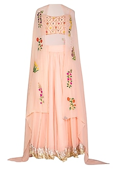 Blush Pink Embroidered Lehenga Set With Cape by Ayinat By Taniya O'Connor