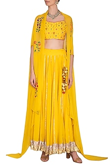 Yellow Embroidered Lehenga Set With Cape by Ayinat By Taniya O'Connor