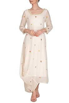Ecru Side Cowl Embroidered Draped Kurta Dress With Slip by Ayinat By Taniya O'Connor