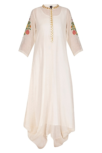 Ecru Embroidered Cowl Draped Kurta Dress With Slip by Ayinat By Taniya O'Connor
