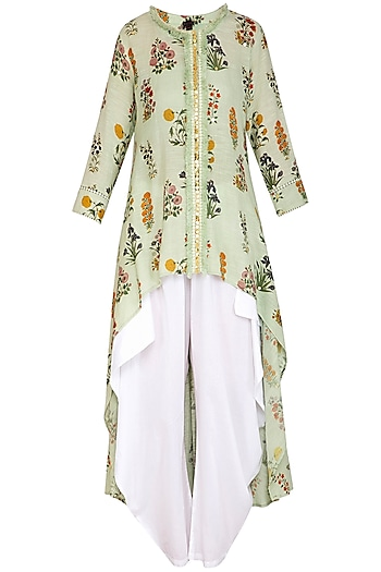 Jade Green High-Low Embroidered Tunic With Dhoti Pants by Ayinat By Taniya O'Connor
