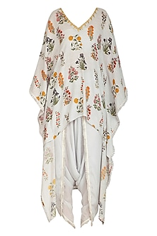 Soft Grey Printed & Embroidered Kaftan With Dhoti Pants by Ayinat By Taniya O'Connor