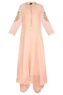 Blush Pink Embroidered Cowl Draped Kurta Dress With Slip by Ayinat By Taniya O'Connor