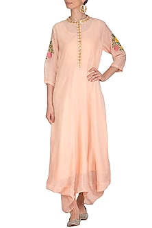 Blush Pink Embroidered Cowl Draped Kurta Dress With Slip by Ayinat By Taniya O'Connor
