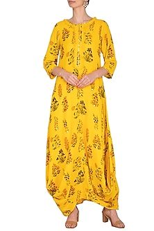 Yellow Printed & Embroidered Kurta Dress With Slip by Ayinat By Taniya O'Connor