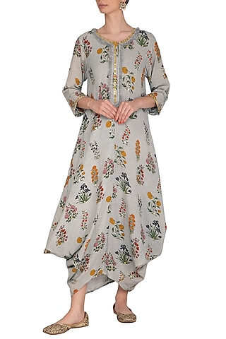 Soft Grey Printed & Embroidered Kurta Dress With Slip by Ayinat By Taniya O'Connor