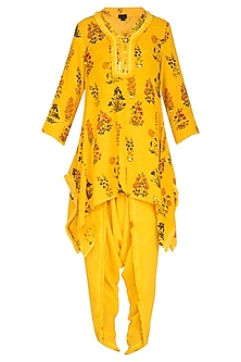 Yellow Embroidered Tunic With Dhoti Pants by Ayinat By Taniya O'Connor