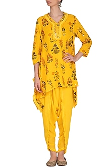 Yellow Embroidered Tunic With Dhoti Pants by Ayinat By Taniya O'Connor-BEST SELLERS