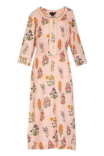 Blush Pink Printed & Embroidered Straight Kurta With Slip by Ayinat By Taniya O'Connor