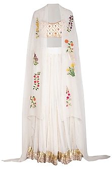 White Embroidered Lehenga Set With Cape by Ayinat By Taniya O'Connor