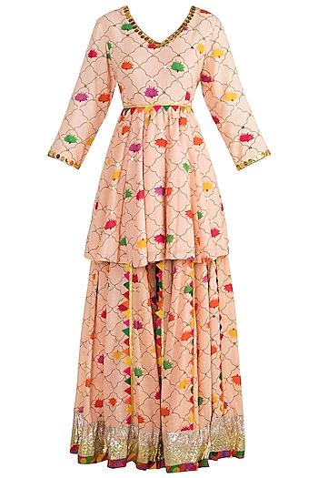 Blush Pink Embroidered Printed Sharara Set by Ayinat By Taniya O'Connor