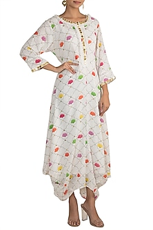 White Embellished Printed Draped Dress With Inner Slip by Ayinat By Taniya O'Connor