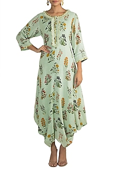 Mint Embellished Printed Kurta Dress With Inner Slip by Ayinat By Taniya O'Connor