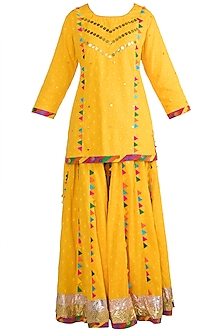 Yellow Embroidered Printed Sharara Set by Ayinat By Taniya O'Connor