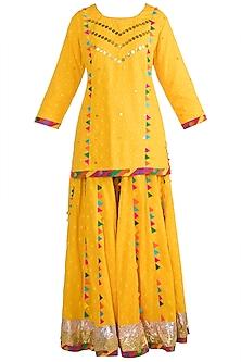 Yellow Embroidered Printed Sharara Set by Ayinat By Taniya O'Connor