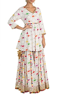 White Embellished Printed Peplum Kurta With Sharara Pants by Ayinat By Taniya O'Connor