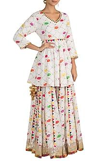 White Embellished Printed Peplum Kurta With Sharara Pants by Ayinat By Taniya O'Connor