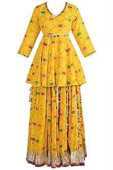 Yellow Embellished Printed Sharara Set by Ayinat By Taniya O'Connor