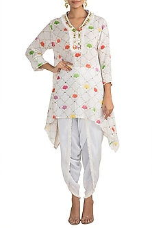 White Embellished Printed Tunic With Dhoti Pants by Ayinat By Taniya O'Connor