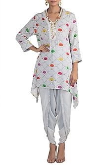 White Printed Embellished Tunic With Dhoti Pants by Ayinat By Taniya O'Connor