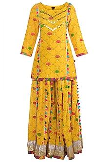 Yellow Embroidered Printed Lehenga Set by Ayinat By Taniya O'Connor