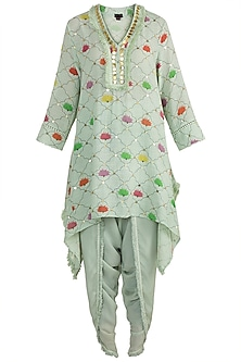 Mint Green Embellished Printed Tunic With Dhoti Pants by Ayinat By Taniya O'Connor