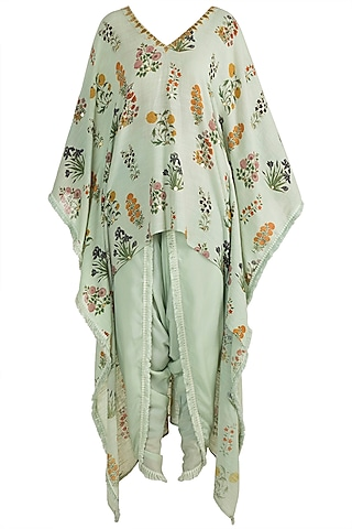 Mint Green Embellished Printed Kaftan With Dhoti Pants by Ayinat By Taniya O'Connor