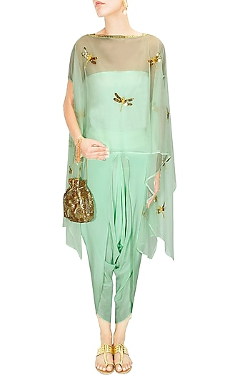 Mint dragonfly cape top with draped dhoti pants by Ayinat By Taniya O'Connor