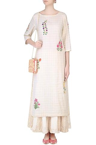 Ecru Mughal Botanic Embroidered Kurta and Stripe Sharara Pants Set by Ayinat By Taniya O'Connor