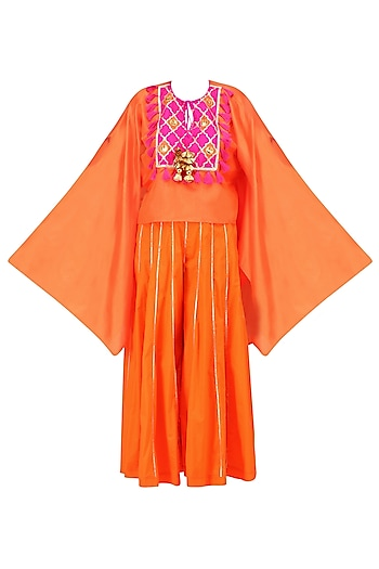 Orange and Rani Pink Gota Patti Work Cape with Sharara Pants by Ayinat By Taniya O'Connor