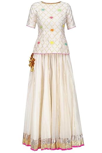 Ecru Gota Patti and Lotus Motifs Short Kurta and Skirt Set by Ayinat By Taniya O'Connor