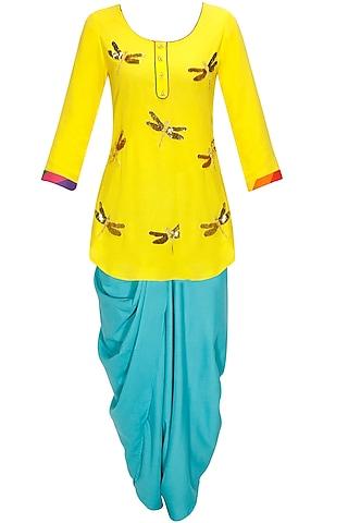 Yellow dragonfly kurta with sky blue dhoti pants and dupatta by Ayinat by Taniya O'Connor