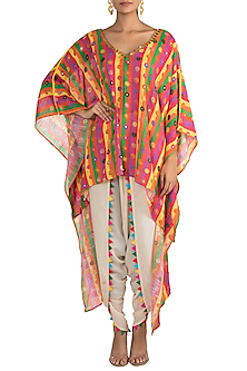Multi Colored Embellished Printed Kaftan With Dhoti Pants by Ayinat By Taniya O'Connor