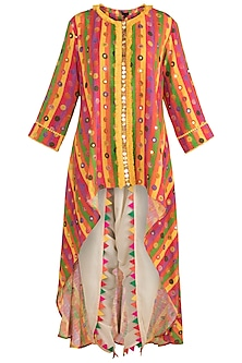 Multi Colored Printed Embellished Tunic With Dhoti Pants by Ayinat By Taniya O'Connor