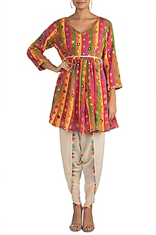 Multi Colored Embroidered Printed Kedia Top With Dhoti Pants by Ayinat By Taniya O'Connor
