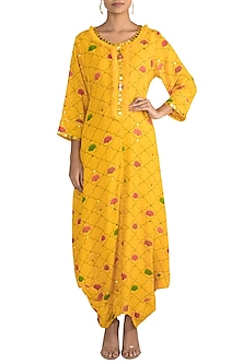 Yellow Embellished Printed Kurta Dress With Inner Slip by Ayinat By Taniya O'Connor