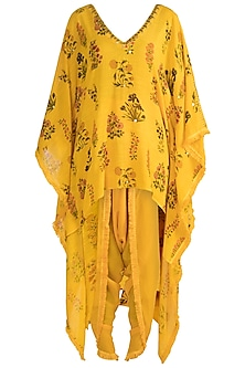 Yellow Embellished Printed Kaftan With Dhoti Pants by Ayinat By Taniya O'Connor