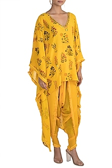 Yellow Embellished Printed Kaftan With Dhoti Pants by Ayinat By Taniya O'Connor