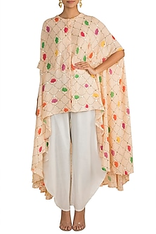 Peach Embellished Printed Tunic With White Cowl Pants by Ayinat By Taniya O'Connor