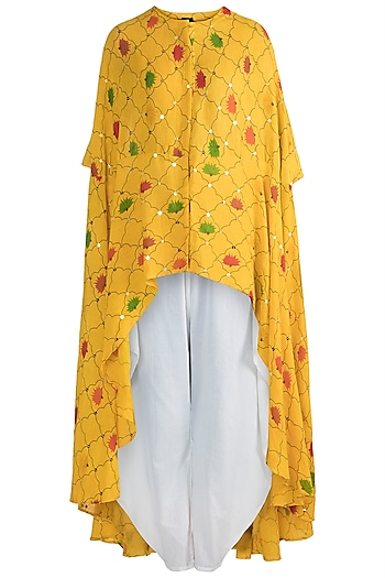Yellow Embellished Printed Top With Cowl Pants by Ayinat By Taniya O'Connor