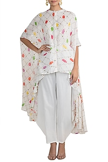 White Embellished Printed Top With Cowl Pants by Ayinat By Taniya O'Connor
