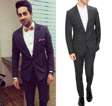 Grey polka dot printed tuxedo  by Sahil Aneja